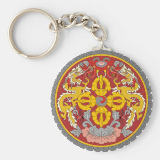 bhutan emblem basic round button keychain