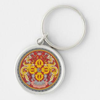 bhutan emblem Silver-Colored round keychain