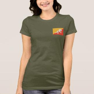 Bhutan Flag and Map dk T-Shirt