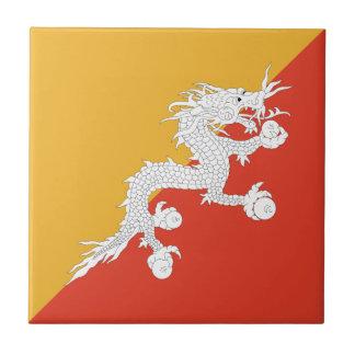 Bhutan Flag Ceramic Tile