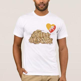 Bhutan Flag Heart and Map T-Shirt