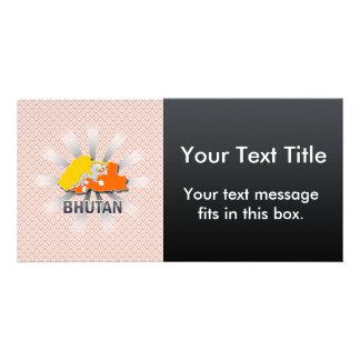 Bhutan Flag Map 2.0 Customized Photo Card