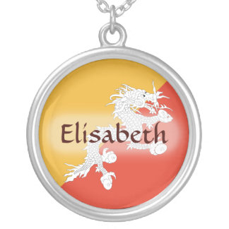 Bhutan Flag + Name Necklace
