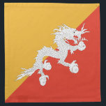 "Bhutan Flag Napkin<br><div class=""desc"">The design on this napkin is the flag of Bhutan carefully conformed to the square shape. The perfect place setting when serving Bhutanese cuisine.</div>"