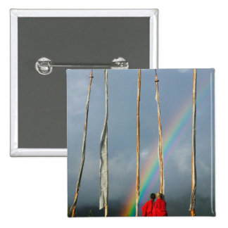 Bhutan, Gangtey village, Rainbow over two 2 Inch Square Button