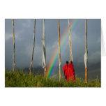 Bhutan, Gangtey village, Rainbow over two monks Card