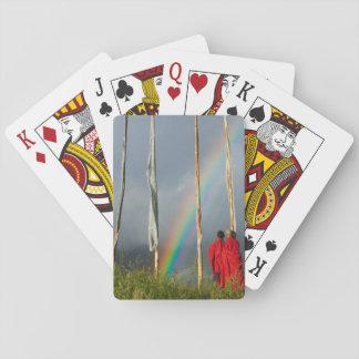 Bhutan, Gangtey village, Rainbow over two monks Card Decks