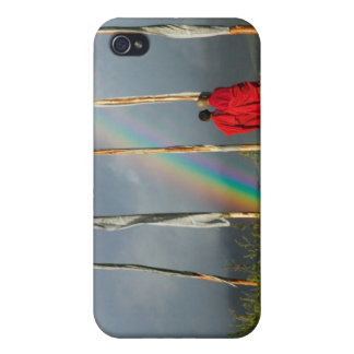 Bhutan, Gangtey village, Rainbow over two monks iPhone 4/4S Cases