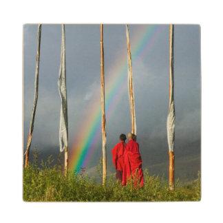 Bhutan, Gangtey village, Rainbow over two monks Wood Coaster