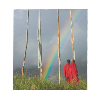 Bhutan, Gangtey village, Rainbow over two monks Notepad