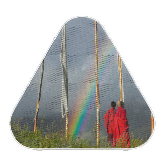Bhutan, Gangtey village, Rainbow over two monks Speaker