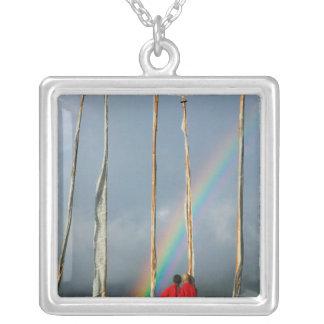 Bhutan, Gangtey village, Rainbow over two Square Pendant Necklace