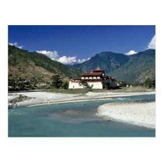 Bhutan, Punaka. The Mo Chhu River flows past Postcard