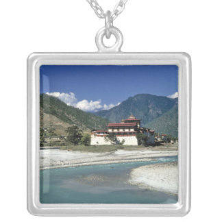 Bhutan, Punaka. The Mo Chhu River flows past Silver Plated Necklace