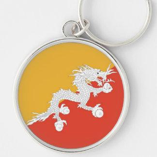 BHUTAN Silver-Colored ROUND KEYCHAIN