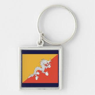 Bhutan Silver-Colored Square Keychain
