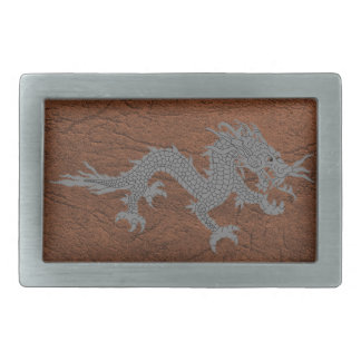Bhutanese Dragon on Leather Rectangular Belt Buckle