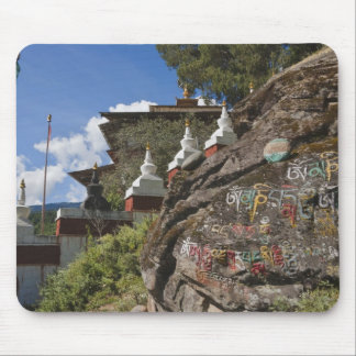 Bhutanese writing on rocks and Nepalese chortens Mouse Pad