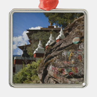 Bhutanese writing on rocks and Nepalese chortens Square Metal Christmas Ornament