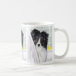 Bi Black Sheltie Bath Coffee Mug