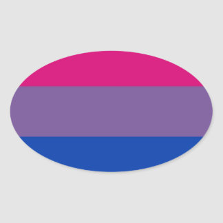 Bi Flag Flies For Bisexual Pride Oval Sticker