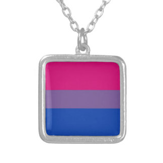 Bi Flag Flies For Bisexual Pride Silver Plated Necklace