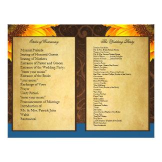 Bi Fold Blue Sunflower Wedding Ceremony Programs Flyer