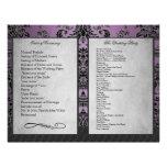 Bi Fold Purple Damask Wedding Ceremony Programs Custom Flyer