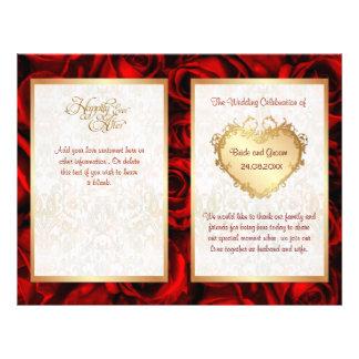 Bi-Fold Red Rose Floral Wedding Program