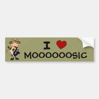 BI- Funny Cow Playing Saxophone Cartoon Bumper Sticker