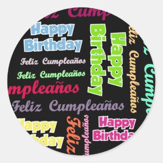 Bi-Lingual Birthday Classic Round Sticker