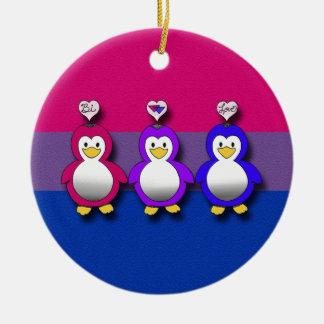 Bi Love Bi Pride Cute penguins Ceramic Ornament