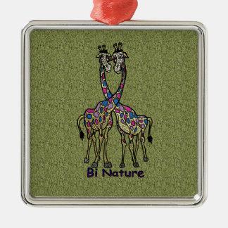 Bi Nature Bi Pride Spot Giraffes Metal Ornament