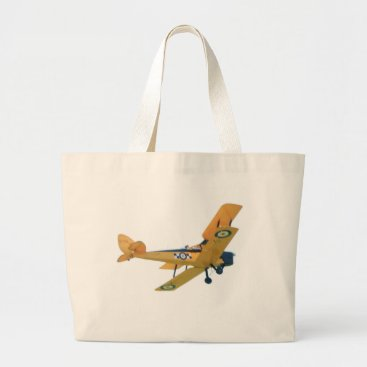 Beach Themed Bi-Plane, Airplane, Yellow on Tote