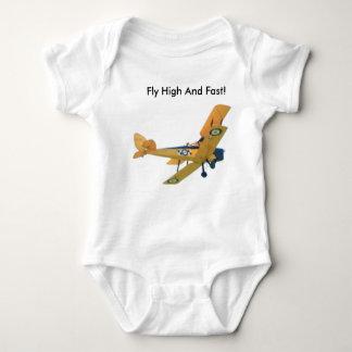 Bi-plane on clothing -yellow baby bodysuit