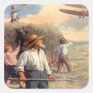 Bi-plane over the hay field square sticker