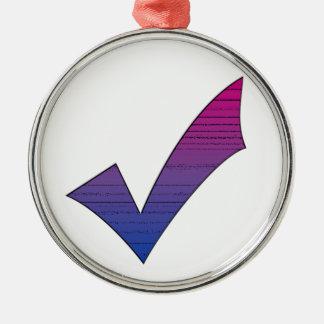 Bi Pride Check Mark Metal Ornament