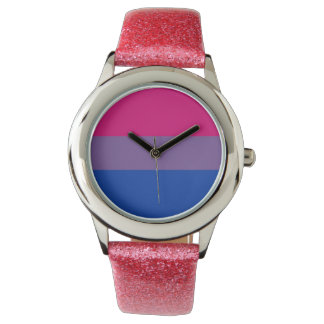 Bi Pride Flag Watch (Pink Glitter)
