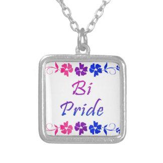 Bi Pride Flower Border Square Pendant Necklace