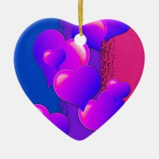 Bi Pride Hearts Ceramic Ornament