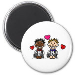 Bi-Racial Gay Couple 2 Inch Round Magnet