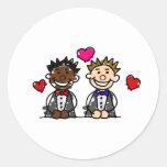 Bi-Racial Gay Couple Classic Round Sticker