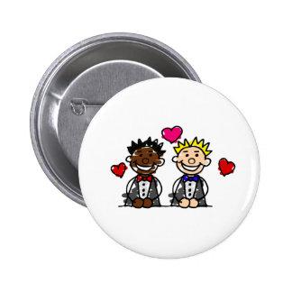 Bi-Racial Gay Grooms Pinback Button