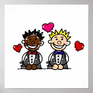 Bi-Racial Gay Grooms Poster
