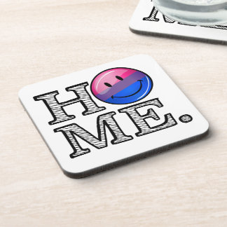 Bi-sexual Flag Smiley Housewarming Coaster