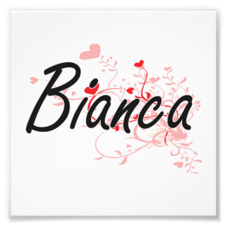 Bianca Artistic Name Design with Hearts Photo Print