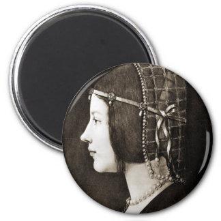 Bianca Sforza by Leonardo da Vinci 2 Inch Round Magnet