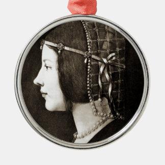 Bianca Sforza by Leonardo da Vinci Metal Ornament