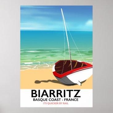 Beach Themed Biarritz France Beach travel poster