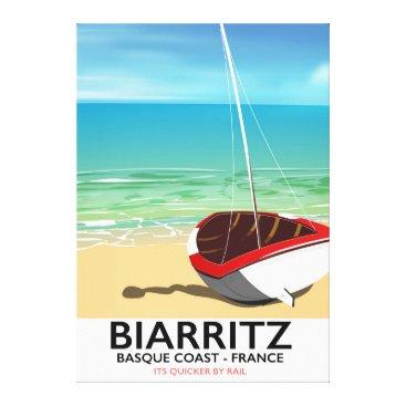 Beach Themed Biarritz France Beach travel poster Canvas Print